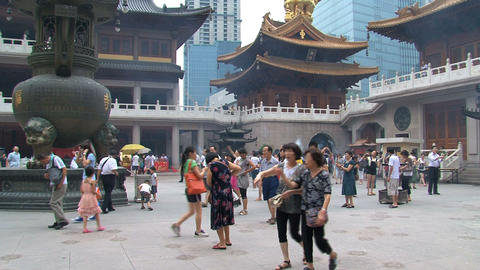 Jing'an Temple square Stock Video Footage
