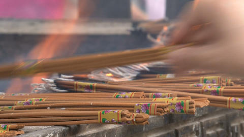 Incense at the Jing'an Temple Footage