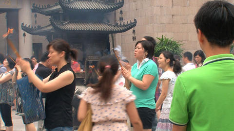 People praying at the Jing'an Temple Footage