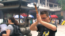 Praying at the Jing'an Temple Footage