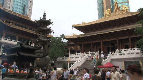 Crowd at Jing'an Temple Stock Video Footage