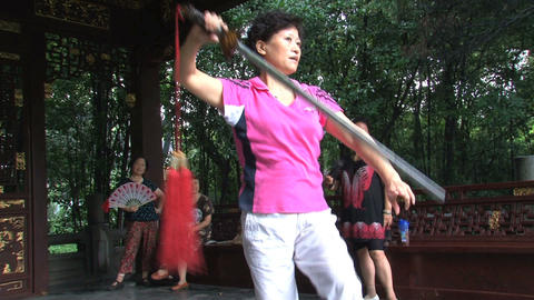 Ying Dance with sword Stock Video Footage