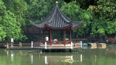 Pond at Jing an Park Stock Video Footage