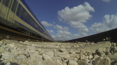 Train rail railroad stock tracks train transportation time lapse clouds Footage