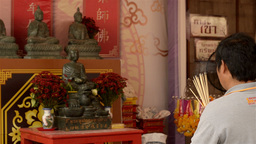 Thai Man Praying in the Chinese New Year Stock Video Footage