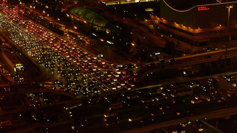 nighttime traffic pollution in city,cars jam troop slow... Stock Video Footage