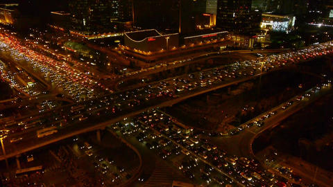 aerial view of nighttime traffic pollution in Beijing... Stock Video Footage