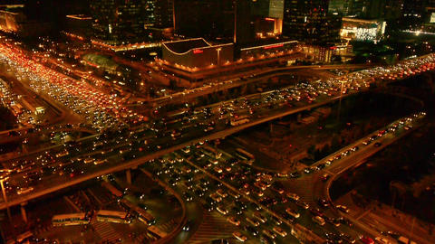 nighttime traffic pollution in Beijing CBD,cars jam troop... Stock Video Footage
