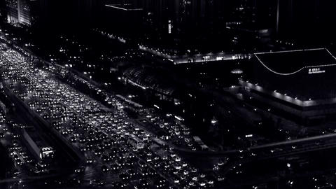 nighttime traffic pollution in urban CBD,cars jam troop... Stock Video Footage