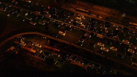 nighttime traffic pollution in city,overlook cars jam... Stock Video Footage