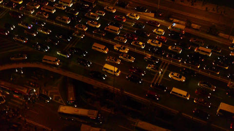 overlook cars jam troop slow moving on busy... Stock Video Footage