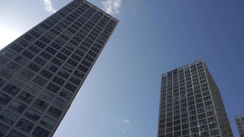 Rotate camera lens of corporate buildings Footage