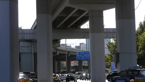 Beijing traffic,under overpass Footage