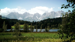 Austrian Alps And Lake Panoramic View stock footage