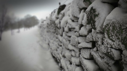 Winter Dry Stone Wall stock footage