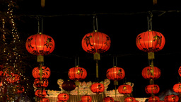 Chinese New Year Lanterns at Night Stock Video Footage
