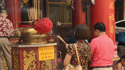 Thai People Praying on the Eve of Chinese New Year Stock Video Footage