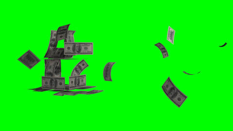 Flying Banknotes Of Dollars. Isolated Over Green Alpha stock footage