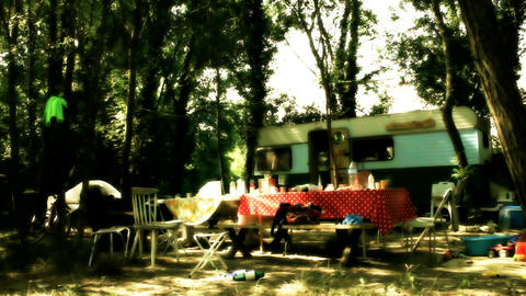 gypsy camp 01 Stock Video Footage