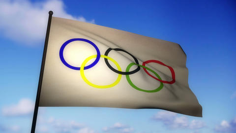 Flag Olympic 02 Stock Video Footage