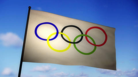Flag   Olympic  02 stock footage
