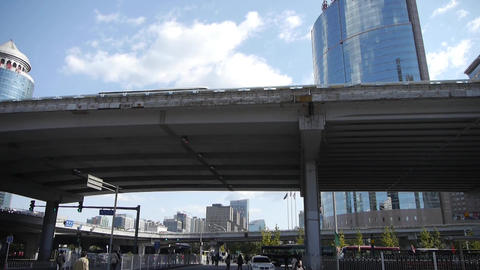 busy crossing traffic,crowded street under overpass Stock Video Footage