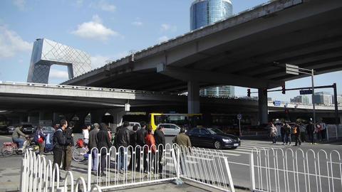 busy crossing traffic in Beijing,crowded street under... Stock Video Footage