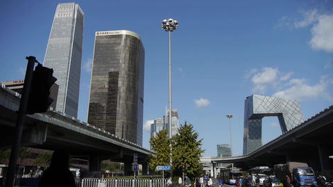 business building district in Beijing China,busy traffic & crowded,timelapse Footage