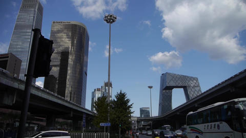 business building district in Beijing China,busy traffic... Stock Video Footage
