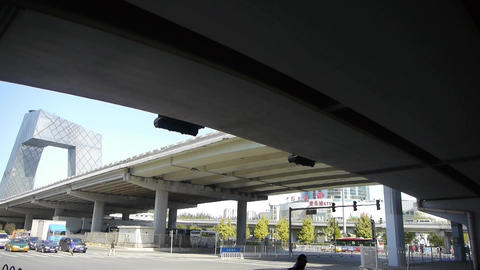 timelapse traffic under overpass in city Footage