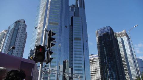 skyscraper,CBD tall office buildings,traffic light Stock Video Footage