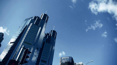 skyscraper clouds,business tall office buildings... Stock Video Footage