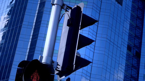closeup skyscraper & traffic light,business tall... Stock Video Footage