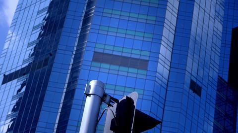 closeup skyscraper & traffic light,business tall... Stock Video Footage