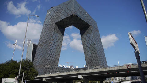 Beijing CCTV building,business building district in China Stock Video Footage