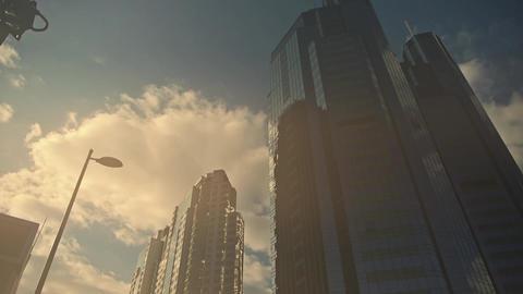 skyscraper in sandstorm,business tall office buildings... Stock Video Footage