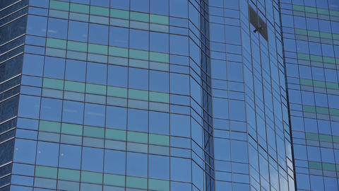 closeup skyscraper glass windows,business buildings district,global commerce Footage