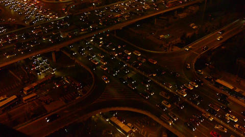 aerial night view of traffic pollution in an urban... Stock Video Footage