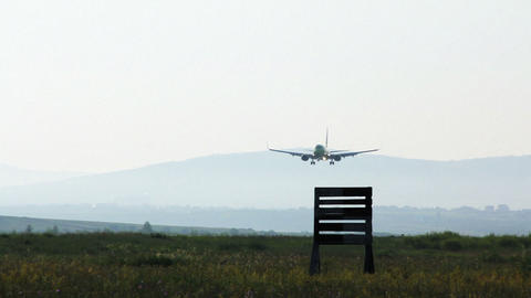 Plane Landing At Airport Edited stock footage