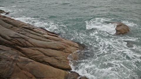 Sea waves on the rocky beach Stock Video Footage
