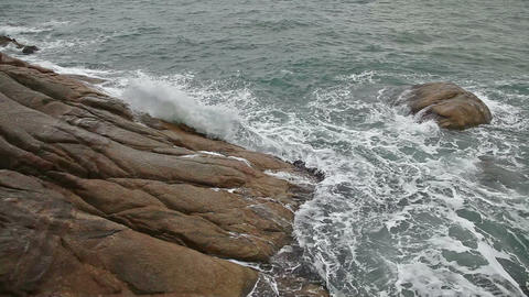 Sea waves on the rocky beach Footage