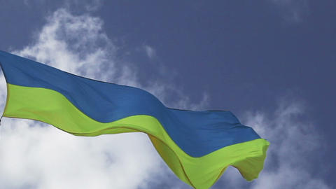 Ukrainian flag waving on cloudy pattern Stock Video Footage