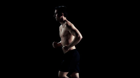 Man Jogging Slow Motion Stock Video Footage