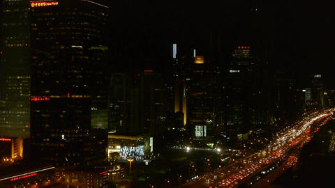 aerial night view of timelapse traffic pollution in an... Stock Video Footage