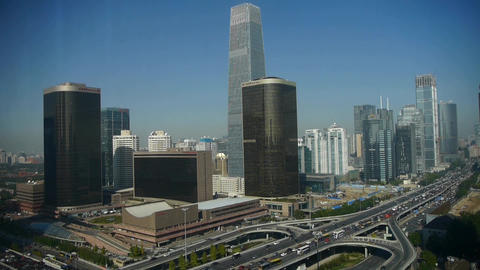 Aerial view of traffic in city,timelapse business... Stock Video Footage