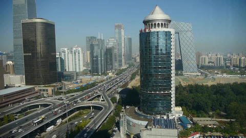 Aerial view of timelapse traffic in city,business... Stock Video Footage