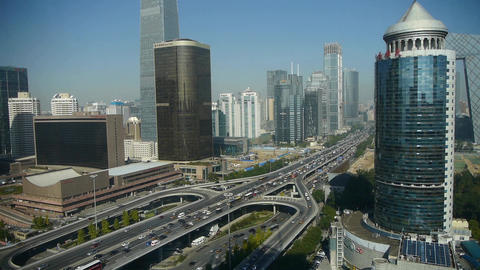 Aerial view of timelapse traffic in city,business skyscraper district China Footage