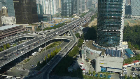 Aerial view of traffic at intersection city,business... Stock Video Footage