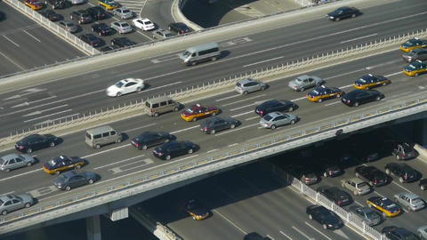 Aerial view of overpass traffic at an urban city Footage