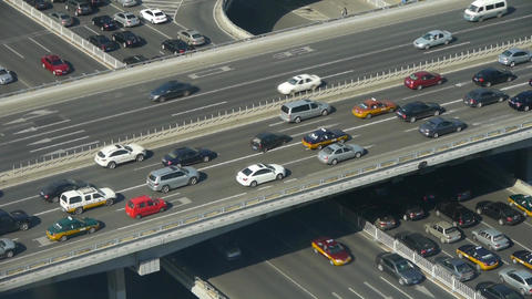 Aerial view of overpass traffic at an urban city Stock Video Footage